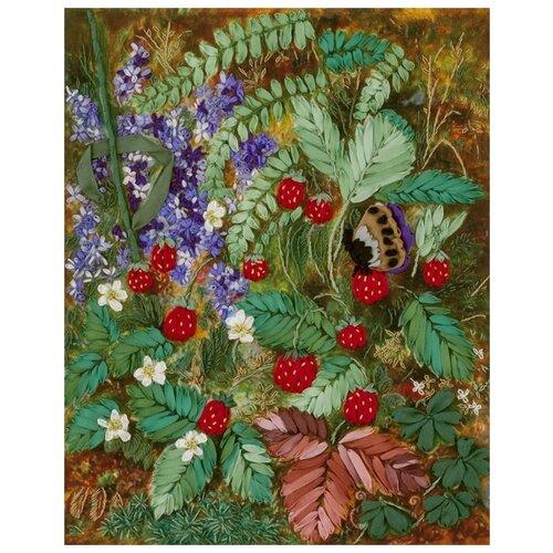 Купить PANNA Набор для вышивания лентами Живая картина Лесная земляника 18.5 x 23.5 см (JK-2035), Наборы для вышивания