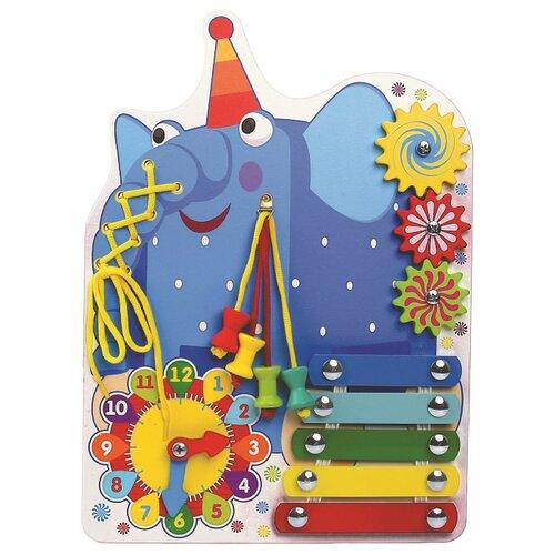 Купить Бизиборд Alatoys Деревяшки Слон Ду-ду синий/желтый/красный, Развитие мелкой моторики