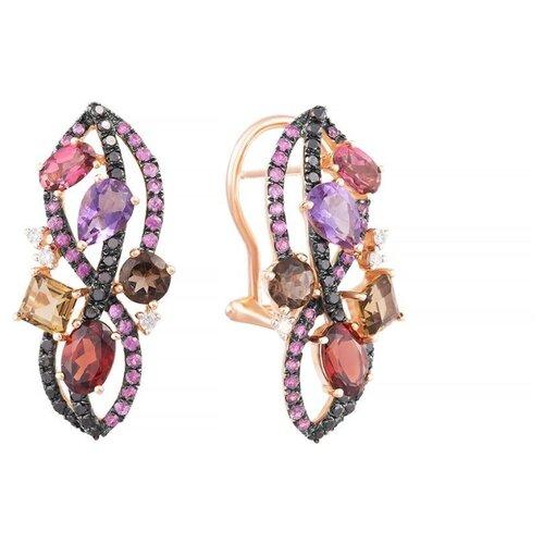 JV Серьги из розового золота 585 пробы с цветными полудрагоценными камнями, бриллиантами и сапфирами E28143C-SR-DB-PS-MC-PINK