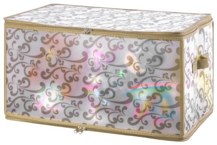 Купить Кофр складной для хранения 52х30х30 см EL Casa Узор на серебре с крышкой на молнии по низкой цене с доставкой из Яндекс.Маркета (бывший Беру)