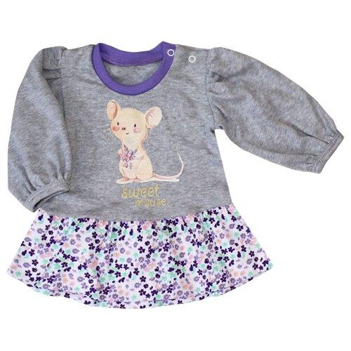 Платье KotMarKot размер 86, белый/серый/фиолетовый/розовый