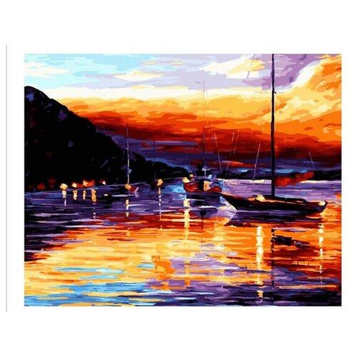 Картина по номерам Лодки на закате