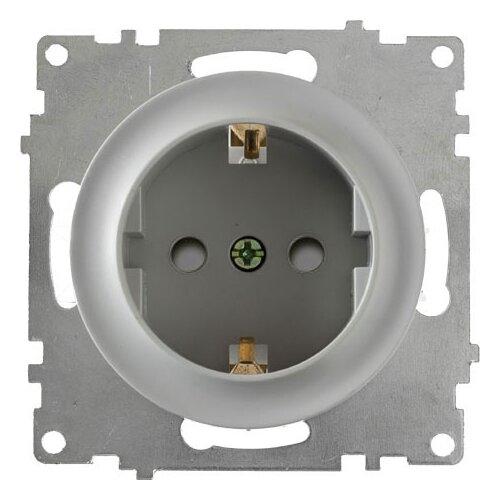 Розетка OneKeyElectro с заземлением OneKeyElectro, защитные шторки, винтовые контакты, цвет серый