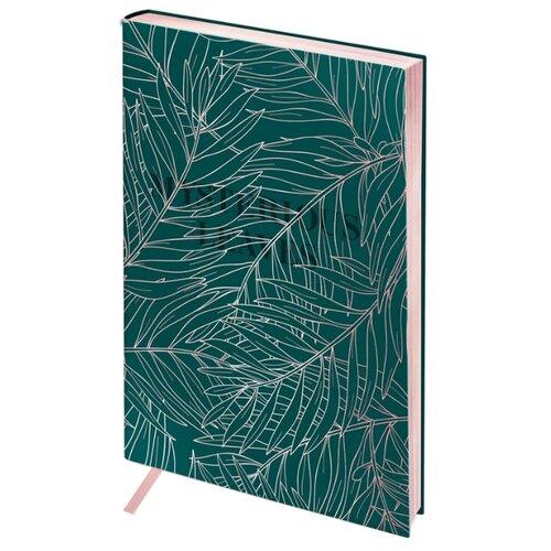 Ежедневник Greenwich Line Vision. Pink leaves недатированный, искусственная кожа, B6, 136 листов, зеленый
