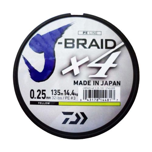 Плетеный шнур DAIWA J-Braid X4 yellow 0.25 мм 135 м 14.4 кг