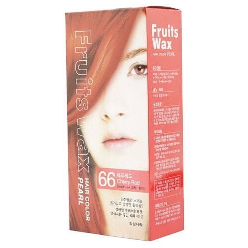 Купить Welcos стойкая крем-краска для волос Fruits Wax Pearl Hair Color, 66 cherry red