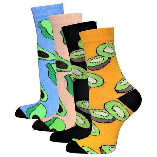 Носки HOSIERY 75112 авокадо, 4 пары, размер 23-25, бежевый/голубой/желтый/черный