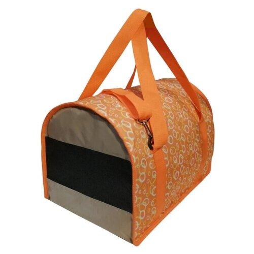 Сумка-переноска для кошек и собак Теремок СП-3 45х29х30 см круги/оранжевый