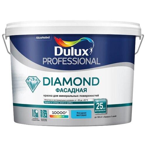 Фото - Краска акриловая Dulux Diamond Фасадная Гладкая влагостойкая матовая бесцветный 9 л краска акриловая alpina долговечная фасадная влагостойкая матовая бесцветный 2 35 л