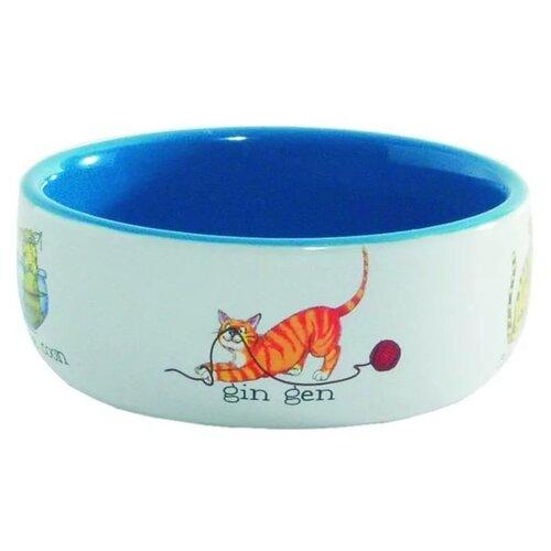 Миска Beeztees 11,5 см Играющие кошки 250 мл белый/голубой миска beeztees стальная с креплением для собак 300 мл