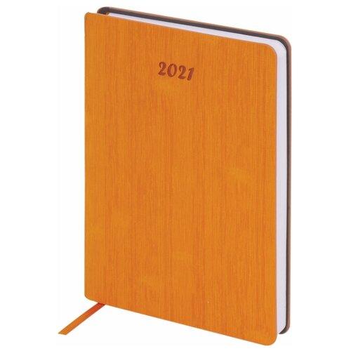 Ежедневник BRAUBERG Voyage датированный на 2021 год, искусственная кожа, А5, 168 листов, оранжевый, Ежедневники, записные книжки  - купить со скидкой