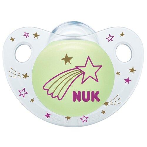 Купить Пустышка силиконовая ортодонтическая NUK Night & Day 0-6 м (1 шт) комета, Пустышки и аксессуары