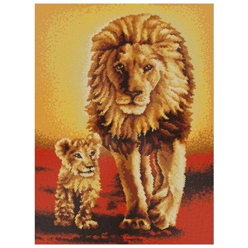 Купить Король Лев (рис. на сатене 29х39) (круговая техника) 29х39 Конек 9527, Конёк, Канва