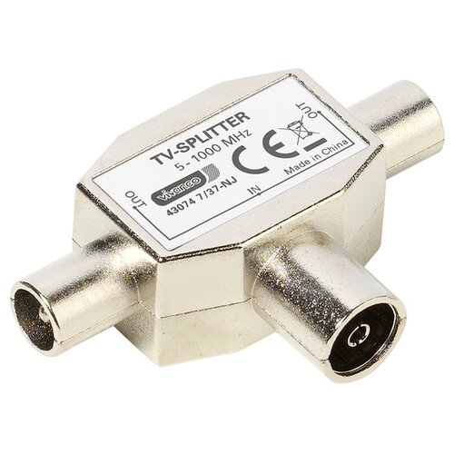 цена на Разветвитель Vivanco TV splitter (48074) серебристый