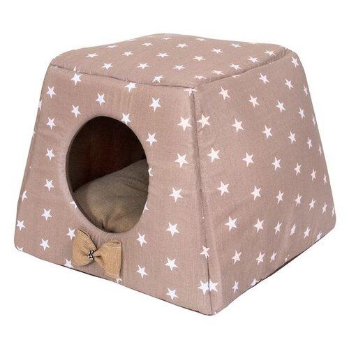 Домик для собак и кошек HutPets Multihouse 45х45х35 см coffee stars
