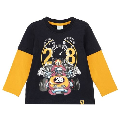 Купить Лонгслив playToday размер 92, темно-синий/оранжевый, Футболки и рубашки