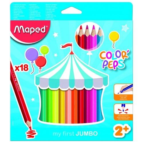 Фото - Карандаши цветные Color Peps Jumbo, 18 цветов карандаши набор 18цв аквар maped color peps aqua кисть