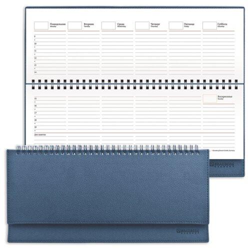 Купить Планинг BRAUBERG Favorite полудатированный, искусственная кожа, 60 листов, темно-синий, Ежедневники, записные книжки