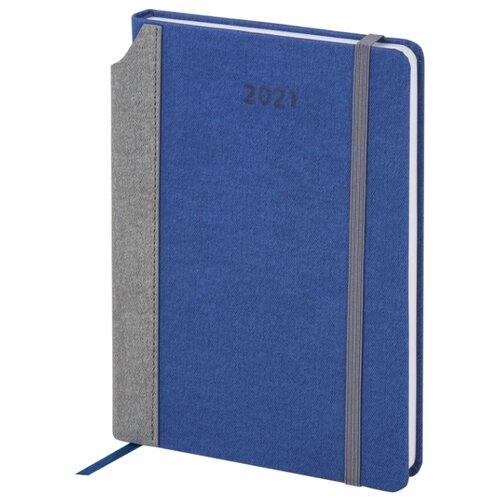Купить Ежедневник BRAUBERG Mosaic датированный на 2021 год, искусственная кожа, А5, 168 листов, синий, Ежедневники, записные книжки