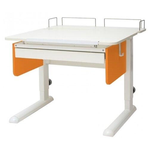 Стол детский Астек-Элара Юниор с ящиком и задней приставкой 80x83 см белый/оранжевый