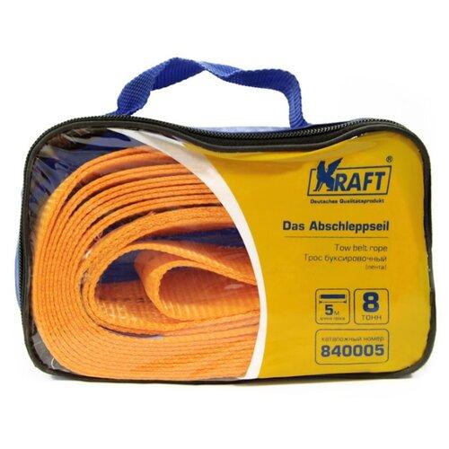 цена на Ленточный буксировочный трос KRAFT KT-840005 (5 м) (8 т) оранжевый