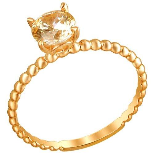 Эстет Кольцо с 1 фианитом из красного золота 01К2110886-2, размер 18 ЭСТЕТ