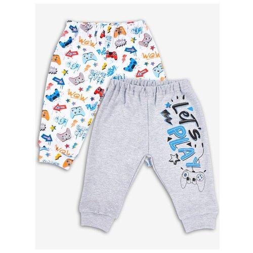 Купить Брюки Веселый Малыш 33320/Киг размер 68, серый/белый/синий, Брюки и шорты