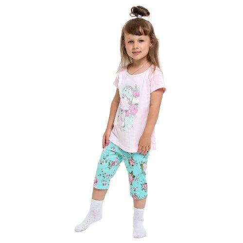 Пижама Веселый Малыш размер 134, розовый/мятный, Домашняя одежда  - купить со скидкой