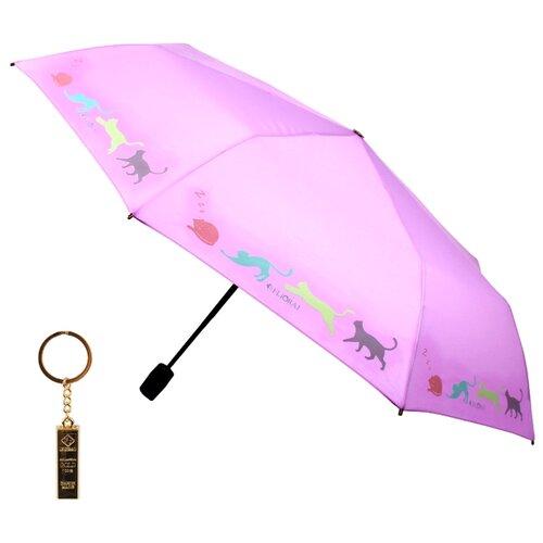 Зонт автомат FLIORAJ Premium Золотой брелок Кошки розовый зонт автомат flioraj premium золотой брелок кошки черный