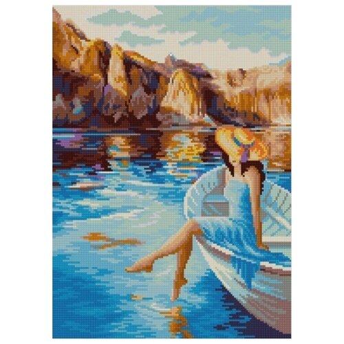 Купить Горное озеро (Рис. на сатене 29х39) 29х39 Конек 1372, Конёк, Канва