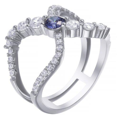 ELEMENT47 Широкое ювелирное кольцо из серебра 925 пробы с кубическим цирконием SL32045N1_001_WG, размер 17