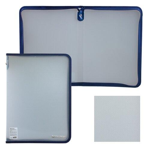BRAUBERG Папка на молнии А4, пластик прозрачный brauberg папка на молнии с