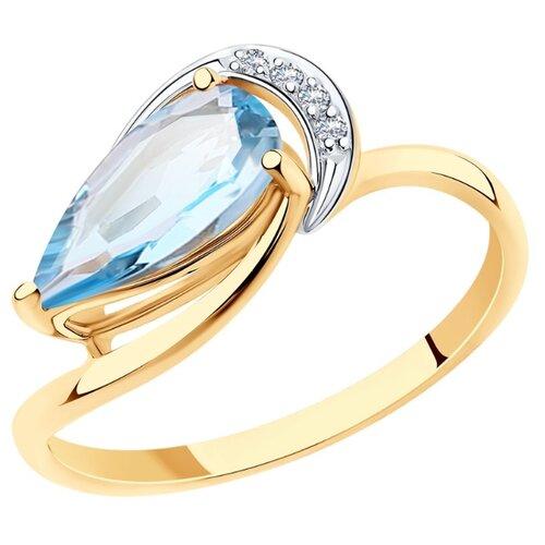 Diamant Кольцо из золота с топазом и фианитами 51-310-00620-1, размер 18 diamant кольцо из золота с топазом и фианитами 51 310 00292 1 размер 18