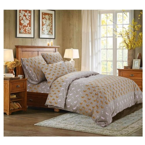 Постельное белье 2-спальное СайлиД A-182, поплин серый постельное белье сирень постельное белье 2 спальное кпб сайлид