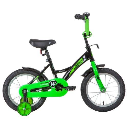 цена на Детский велосипед Novatrack Strike 14 (2020) черный/зеленый (требует финальной сборки)