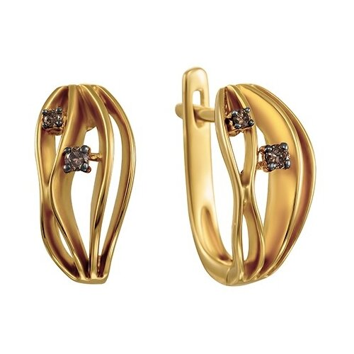 JV Золотые серьги с бриллиантами AAS-3814E-SR-DN-YG