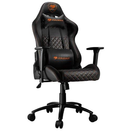 Компьютерное кресло COUGAR Rampart игровое, обивка: текстиль/искусственная кожа, цвет: черный 2 коврик cougar neon x черный
