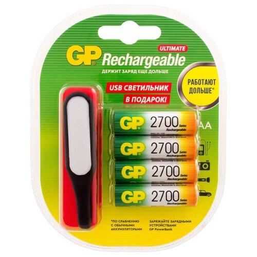 Фото - Аккумулятор Ni-Mh 2700 мА·ч GP Rechargeable 2700 Series AA + USB светильник 4 шт блистер аккумулятор