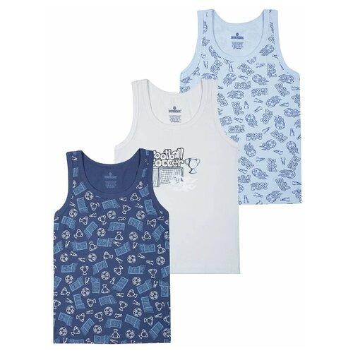 Купить Майка BAYKAR 3 шт., размер 158/164, голубой/синий/молочный, Белье и пляжная мода
