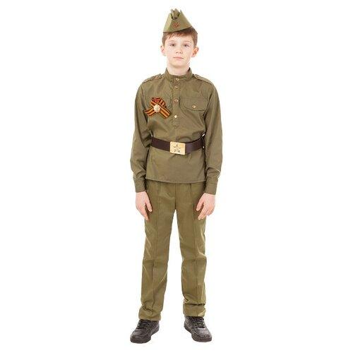 Купить Костюм пуговка Солдат (2032/1 к-18), коричневый, размер 116, Карнавальные костюмы