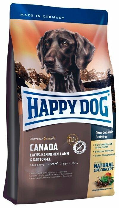 Корм для собак Happy Dog Supreme Sensible Canada лосось, кролик, ягненок с картофелем 1 кг