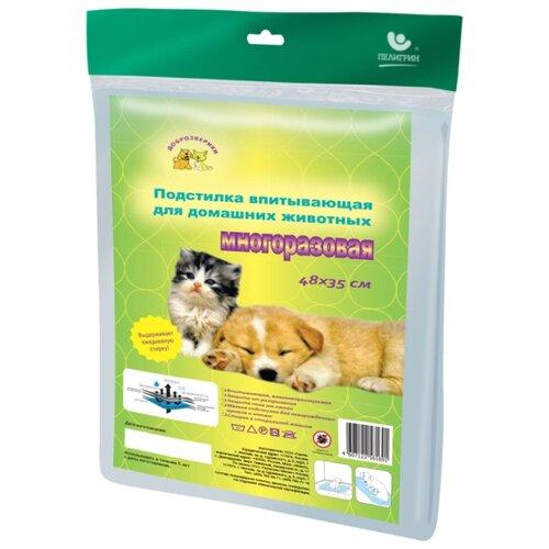 Пеленки для собак многоразовые впитывающие Доброзверики П48*35 48х35 см 1 шт.
