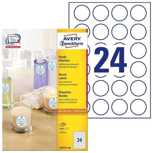 Фото - Этикетки для маркировки Avery Zweckform, 40 мм, 2400 штук, 100 листов, белые этикетки всепогодные 99 1x139 мм удаляемые 80 штук 20 листов белые