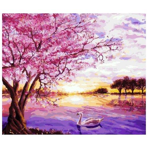 Купить Картина по номерам Сакура и лебедь , 30х40 см, Цветной, Картины по номерам и контурам