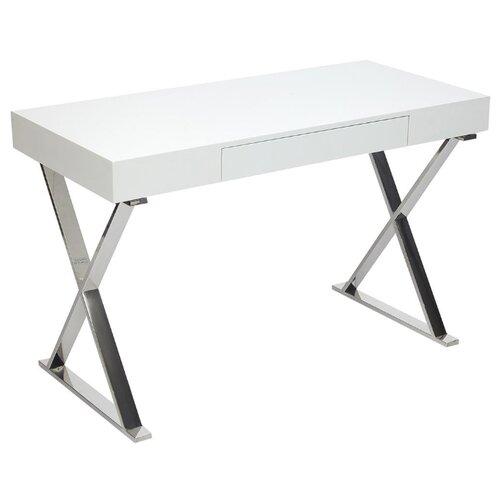 Письменный стол TetChair Lazetti EWD-HS01, 120х55 см, цвет: хромированный каркас/белый