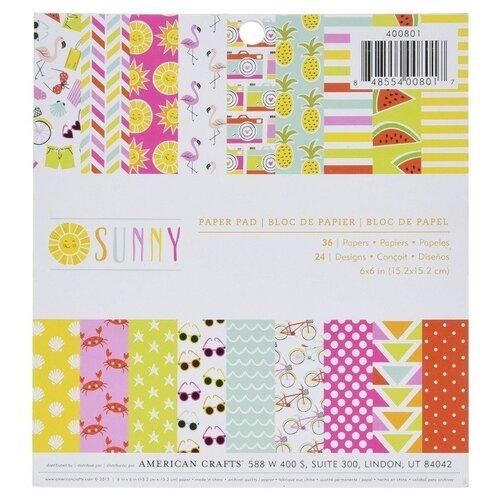 Купить Набор бумаги Sunny , 15, 2x15, 2 см, 36 листов, American Crafts, Бумага и наборы
