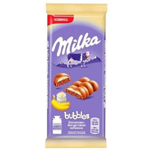 Шоколад Milka Bubbles молочный с бананово-йогуртовой начинкой, 97 г