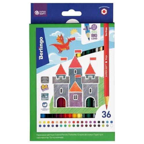 Купить Berlingo Карандаши цветные SuperSoft Замки 36 цветов (SS00136), Цветные карандаши