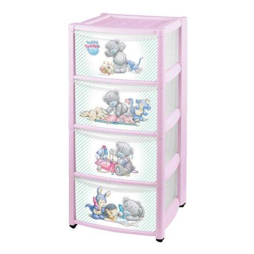 ящики для игрушек me to you комод детский на колесах с аппликацией 4 ящика 39х37х78 см КОМОД ДЕТСКИЙ НА КОЛЕСАХ С АППЛИКАЦИЕЙ ME TO YOU 4 ЯЩИКА (розовый)