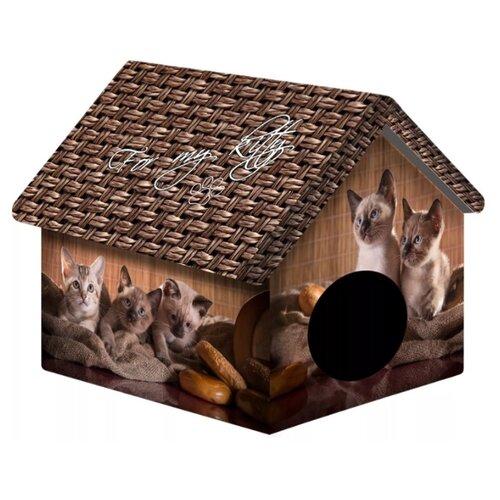 Домик для собак и кошек PerseiLine Котята и мешковина 33х33х40 см коричневый